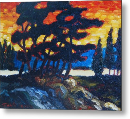 Impressionism Landscape Trees Canadian Landscape Metal Print featuring the painting Night Fall On The Lake by Santo De Vita
