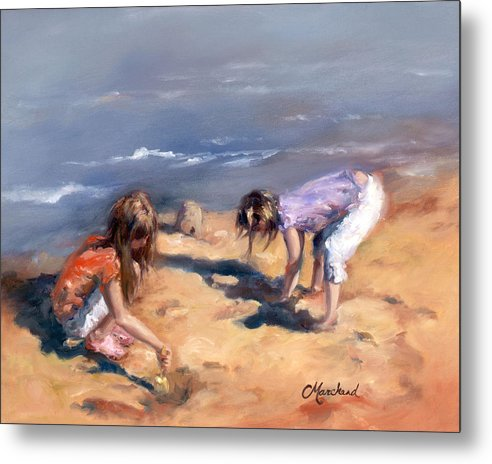 Children Metal Print featuring the painting Sandcastles by Catherine Marchand
