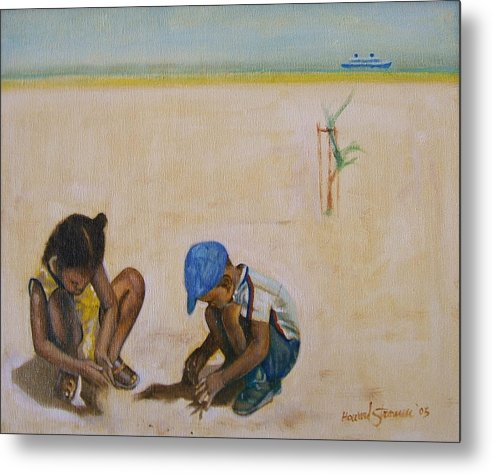Children At The Beach Metal Print featuring the painting Searching For Treasure by Howard Stroman