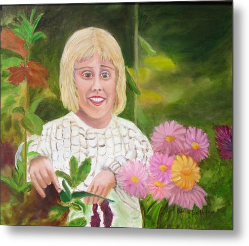Landscape Of Child In Her Garden Metal Print featuring the painting A Child's Gardem by Bonnie Smith