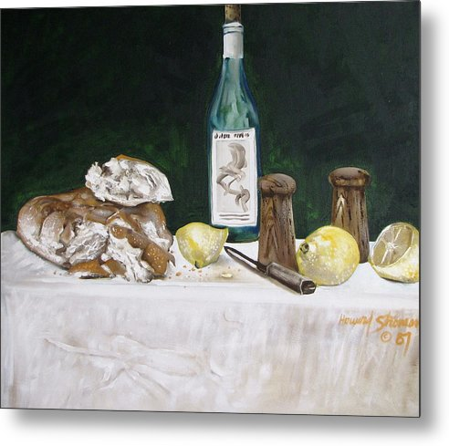 Stil Life;lemons;wine;bread;table Setting;salt;pepper;food Metal Print featuring the painting Bread And Wine by Howard Stroman