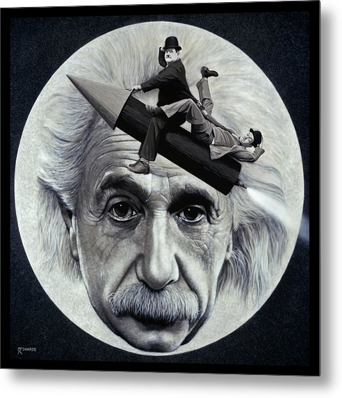 Einstein Metal Print featuring the painting Scientific Comedy by Ross Edwards