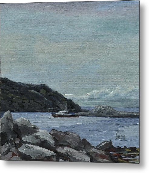 Lobster Boat Metal Print featuring the painting The Legacy - Monhegan Maine by J R Baldini IPAP