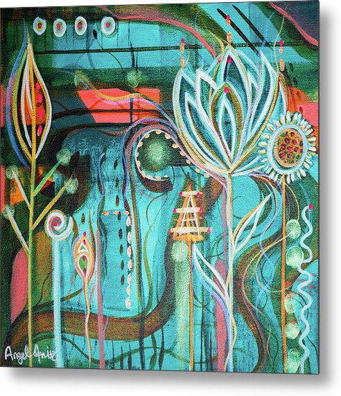 Intuitive Art Metal Print featuring the painting Happy by Angel Fritz