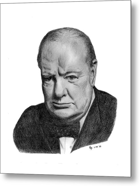 Churchill Metal Print featuring the drawing Winston Churchill by Charles Vogan