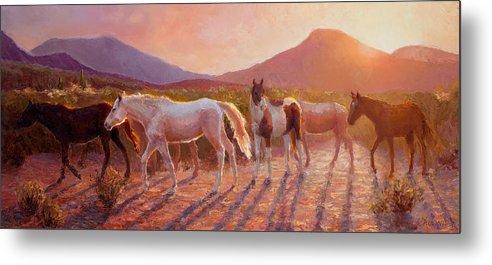 Arizona Art Metal Print featuring the painting More Than Light Arizona Sunset And Wild Horses by Karen Whitworth