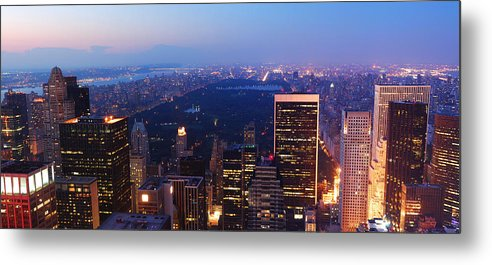New York City Metal Print featuring the photograph New York City Central Park Manhattan Panorama by Songquan Deng