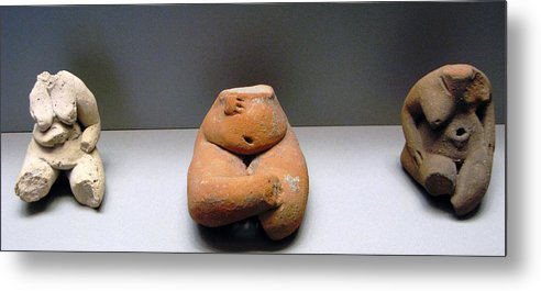 Neolithic Figurine Metal Print featuring the photograph Pregnant Seated Woman by Andonis Katanos