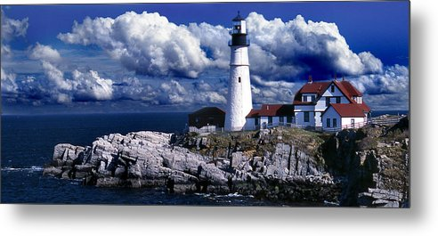 Maine Lighthouses Metal Print featuring the photograph The Front At Portland Head by Skip Willits