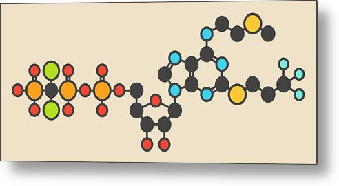 Cangrelor Metal Print featuring the photograph Cangrelor Antiplatelet Drug Molecule 1 by Molekuul
