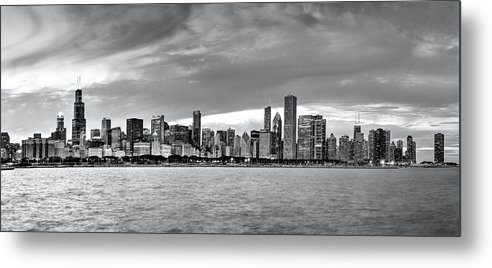 Chicago Skyline Metal Print featuring the photograph Chicago Skyline Black And White by Patrick Warneka