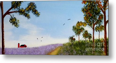 Lavender Metal Print featuring the painting Lavender Fields by Tim Townsend