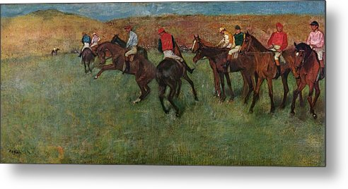 Edgar Degas Metal Print featuring the digital art Pferderennen Vor Dem Start by Edgar Degas