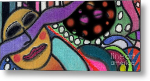 Abstract Metal Print featuring the pastel Abstract Circular Figure by Christine Perry
