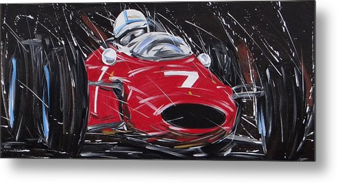 Cars Metal Print featuring the painting F1 Surtees Ferrari 1964 by Roberto Muccilo