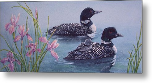 Wildlife Metal Print featuring the painting Loon Family by Cherry Woodbury