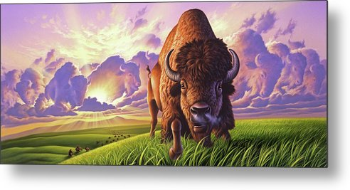 Buffalo Metal Print featuring the painting Morning Thunder by Jerry LoFaro
