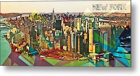New York City Skyline Metal Print featuring the digital art New York City Skyline by Victor Arriaga