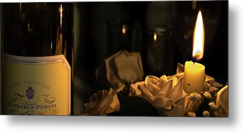 Wine Metal Print featuring the photograph Wine And Candle by Andrea Barbieri
