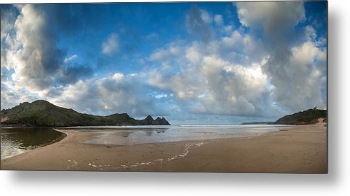 Three Cliffs Bay Metal Print featuring the photograph Stunning Sunrise Landscape Over Three Cliffs Bay In Wales by Matthew Gibson