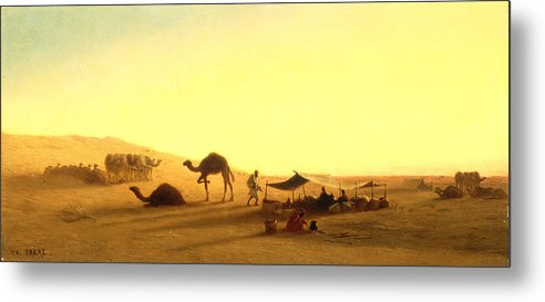 Arab; Encampment; Desert; Camp; Tent; Canopy; Camel; Camels; Dawn; Dusk; Morning; Evening; Sunrise; Sunset; Sundown; Golden; Glow; Nomad; Nomads; Nomadic; Traveller; Travellers; Travel; Camel; Train; Arab; Arabs; Arabian; Arid; Heat; Orientalist; Middle East; Middle Eastern; Sand; Dune; Dunes Metal Print featuring the painting An Arab Encampment by Charles Theodore Frere