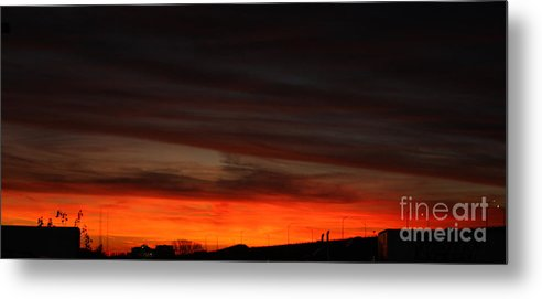 Burning Night Time Sky Metal Print featuring the photograph Burning Night Time Sky by John Telfer