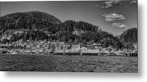 Black And White Metal Print featuring the photograph Bw Ketchikan Waterfront by Timothy Latta