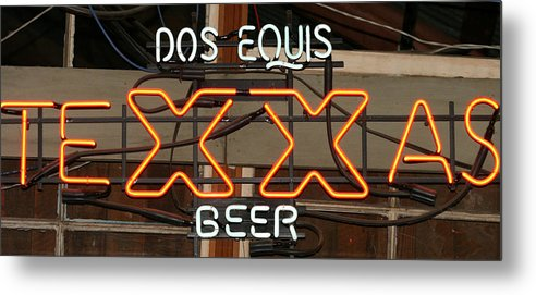 Dos Equis Texxas Beer Metal Print featuring the photograph Dos Equis Texxas Beer by Kathy Peltomaa Lewis