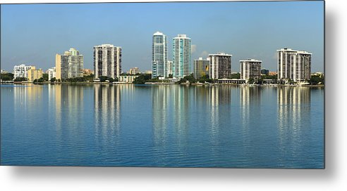 Architecture Metal Print featuring the photograph Miami Brickell Skyline by Raul Rodriguez
