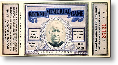 Knute Rockne Metal Print featuring the photograph Rockne Memorial Game by Benjamin Yeager