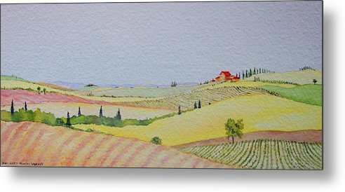 Watercolor Metal Print featuring the painting Tuscan Hillside Three by Mary Ellen Mueller Legault