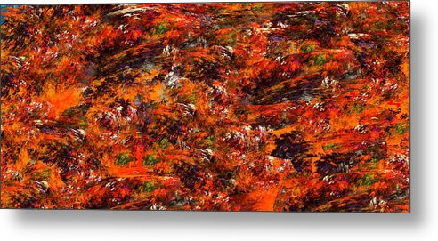 Abstract Digital Painting Metal Print featuring the digital art Autumn Riot by David Lane