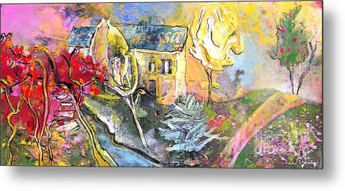 Landscape Painting Metal Print featuring the painting La Provence 11 by Miki De Goodaboom