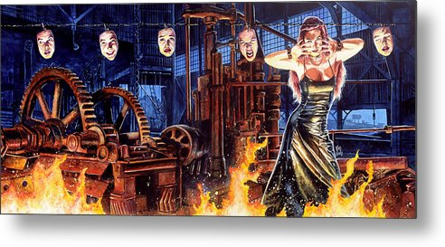 Fantasy Metal Print featuring the painting Masks by Ken Meyer