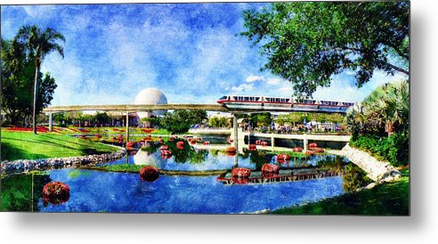 Epcot Metal Print featuring the digital art Monorail Red - Coming 'round The Bend by Sandy MacGowan