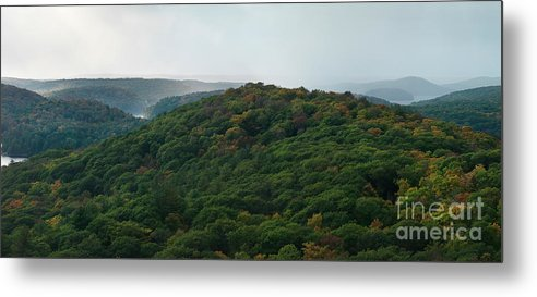 Autumn Metal Print featuring the photograph Storm Clouds Over Fall Nature Scenery by Oleksiy Maksymenko