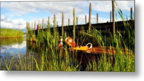 Great Lakes Metal Print featuring the photograph Waiting Girl On Les Cheneaux by Marysue Ryan