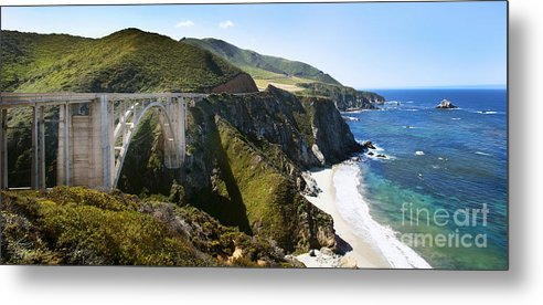 Bixby Bridge Metal Print featuring the photograph Bixby Bridge Near Big Sur On Highway One In California by Artist and Photographer Laura Wrede