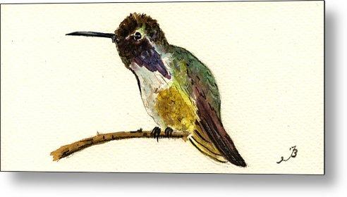 Costa´s Hummingbird Metal Print featuring the painting Costa S Hummingbird by Juan Bosco