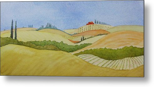 Italy Metal Print featuring the painting Tuscan Hillside Two by Mary Ellen Mueller Legault