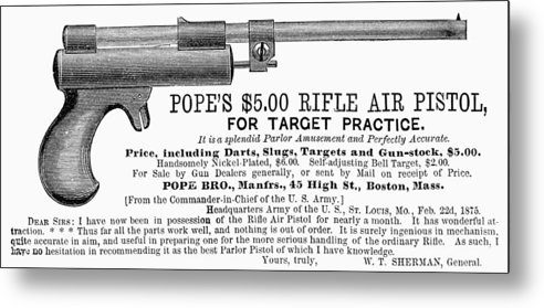 1875 Metal Print featuring the photograph Advertisement: Air Pistol by Granger
