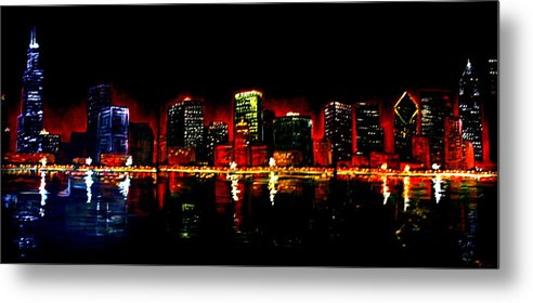 Cityscape Metal Print featuring the painting Lake Shore Drive by Melissa Wiater Chaney