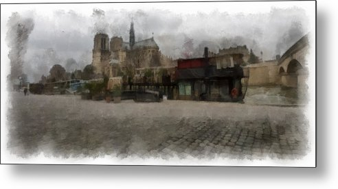 Notre Dame Metal Print featuring the photograph Notre Dame 1 Aquarell by Wessel Woortman