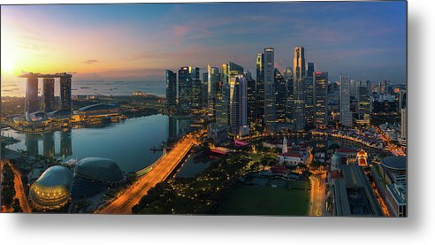 Singapore Metal Print featuring the photograph Cityscape Of Singapore City by Anek Suwannaphoom
