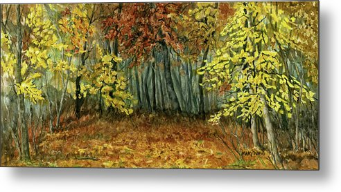 Autumn Metal Print featuring the painting Autumn Hollow by Mary Tuomi