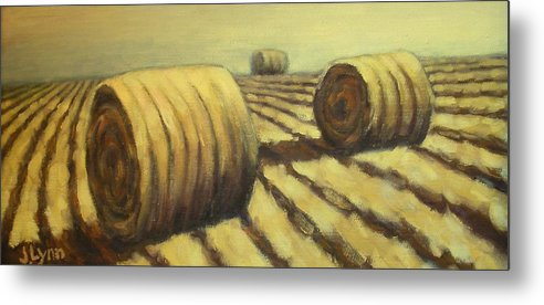 Art Sale Metal Print featuring the painting Haybales by Jaylynn Johnson