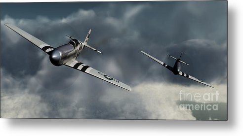 Warbirds Metal Print featuring the digital art Riding The Storm by Richard Rizzo