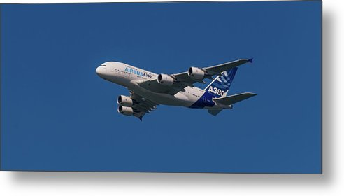Airbus Metal Print featuring the pyrography The Firts Airbus A380 by Javier Flores