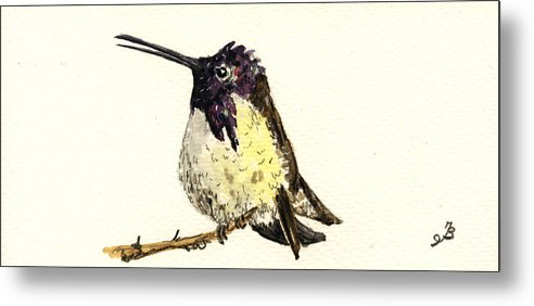 Costa´s Hummingbird Metal Print featuring the painting Costa S Hummingbird by Juan Bosco