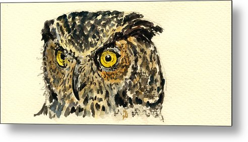 Great Metal Print featuring the painting Great Horned Owl by Juan Bosco